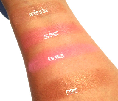 Swatches: Top- Bottom: Satellite of Love, Day Dream, New Attitude, and Casino.
