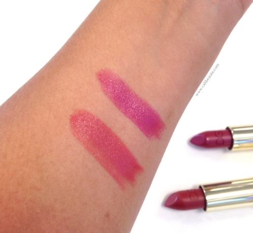 Swatches of the Monica Voluptuous Lipstick in the color Gentle on the left, and Sophia Loren No. 1 lipstick on the right.