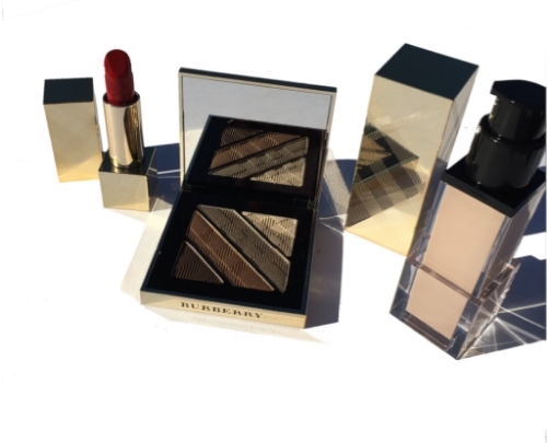 Burberry Holiday 2015 Festive Gold Collection: Complete Eye Palette, Luminous Fluid Base, Military Red Lipstick