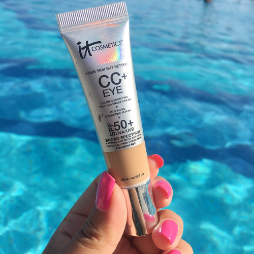 I am really impressed with the It Cosmetics CC+ Color Correcting Full Coverage  Cream. It has an SPF of 50+! and provided smooth, even coverage through out the day.