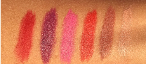 L to R: Ruby Woo, Heroine, Candy Yum Yum, Lady Danger, Velvet Teddy, Creme d' Nude. Swatches taken in direct sunlight.