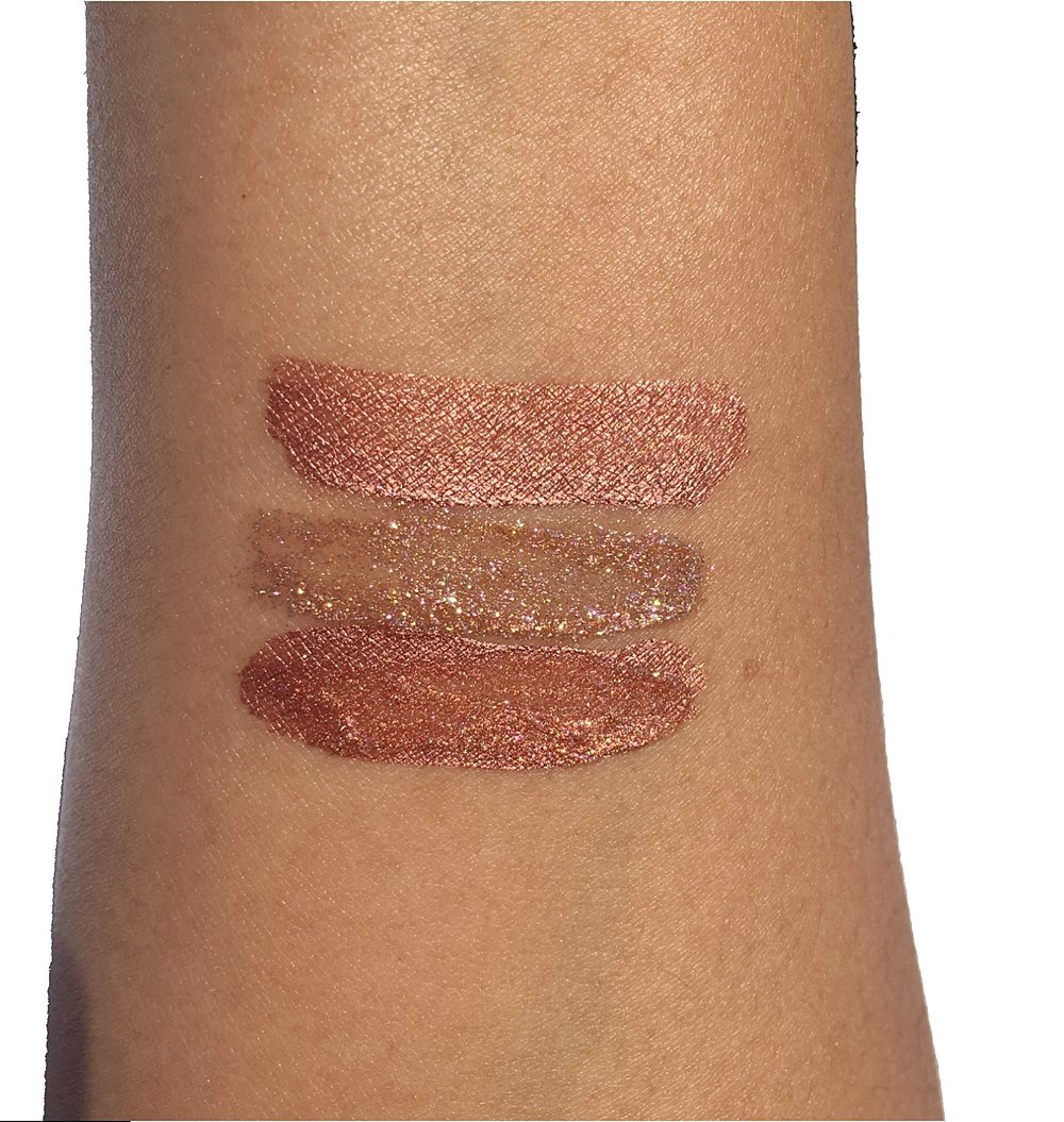 Top to Bottom: Rose Gold Lip Creme, Rose Gold Lip Topper, Mixed