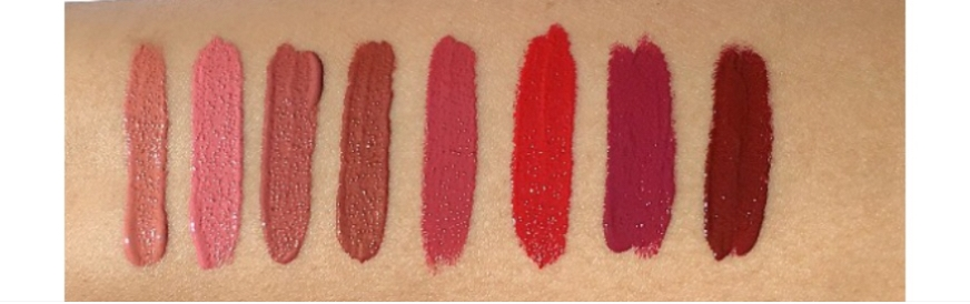 Swatches L to R: Bad B, Pink Drank, Mauve Wife, Girl Please, Rose B4 Bros,Bad Apple, Crush It, Brick Trick