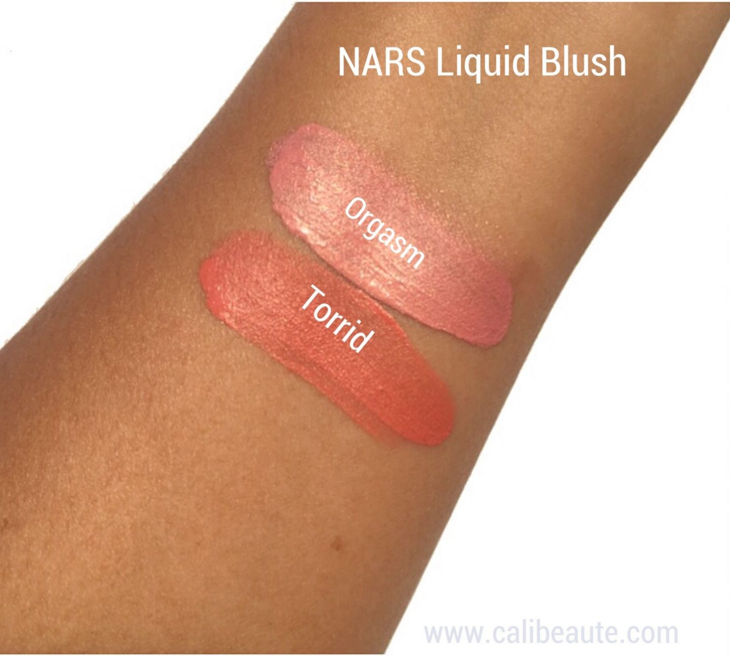 NARS liquid blush swatches Orgasm Laguna|www.calibeaute.com