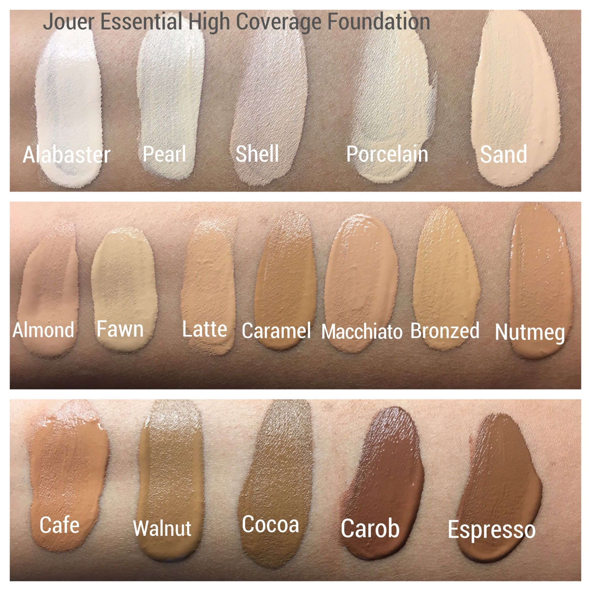 Jouer Essential High Coverage Foundation Swatches Cali