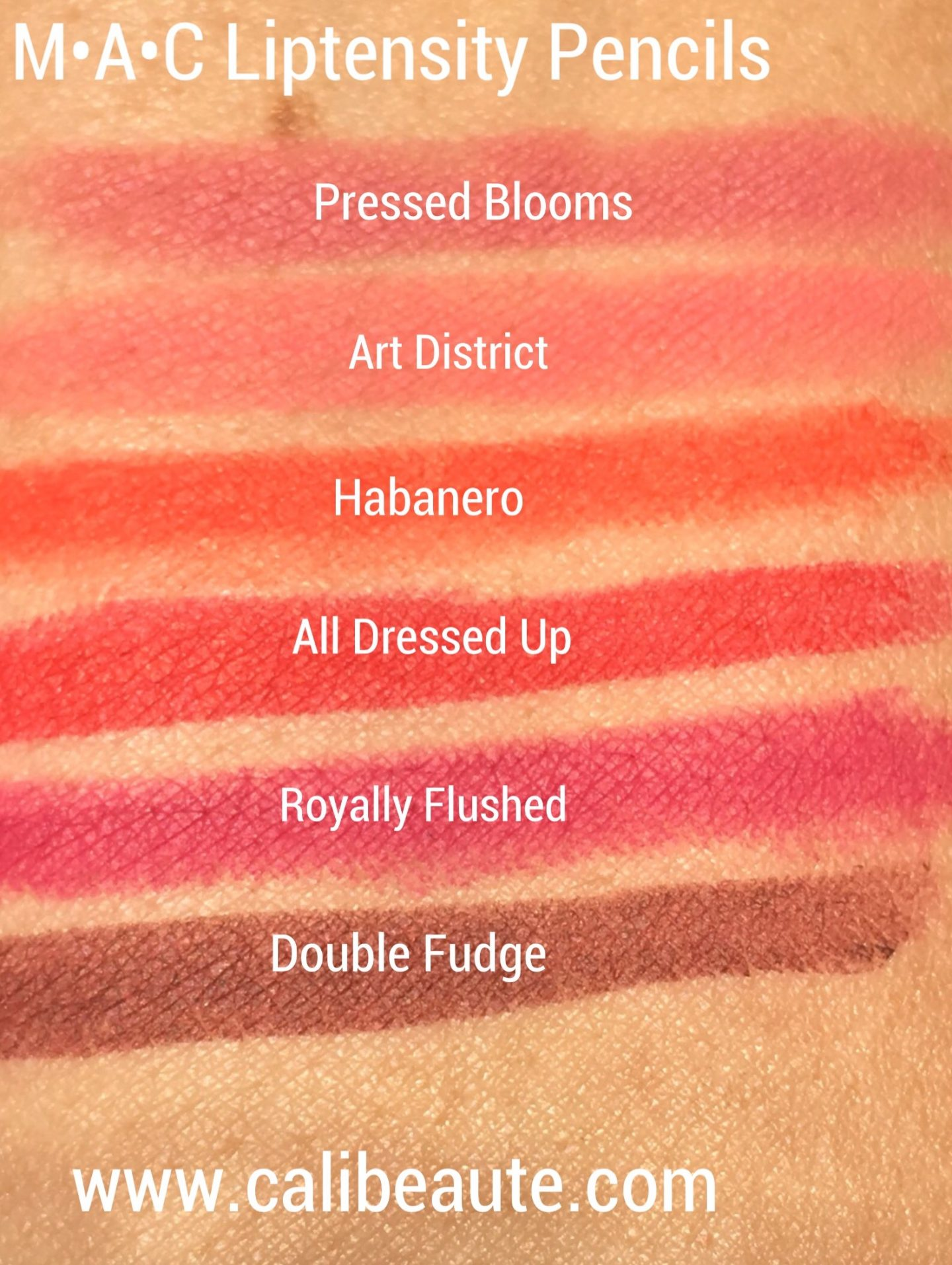 MAC Liptensity Lip Pencil Swatches |www.calibeaute.com