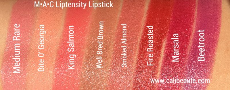 MAC Liptensity Lipstick Swatches |www.calibeaute.com