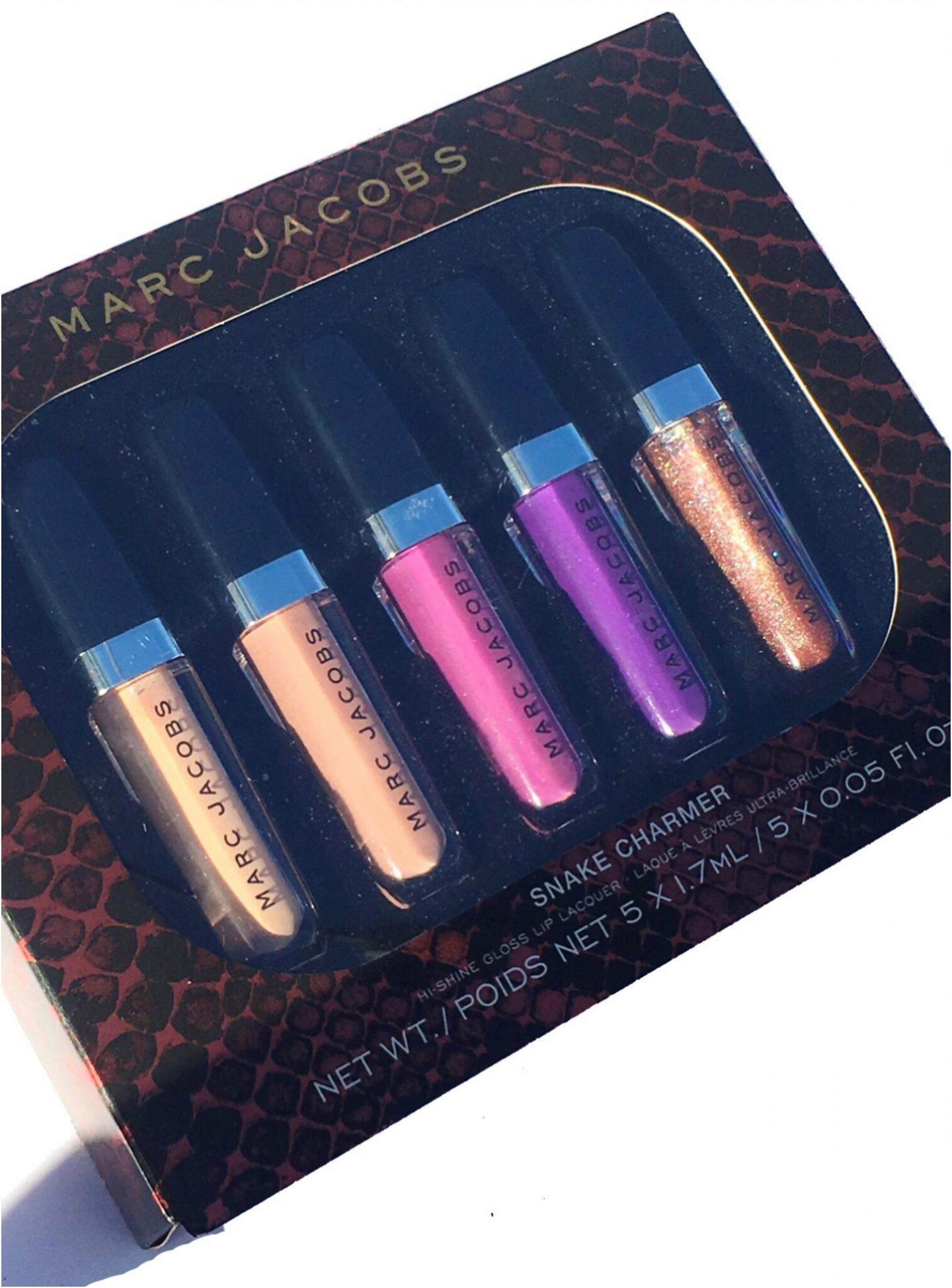 MARC JACOBS SNAKE CHARMER 5 PIECE PETITE ENAMORED HI SHINE GLOSS LIP LACQUER SWATCHES & REVIEW