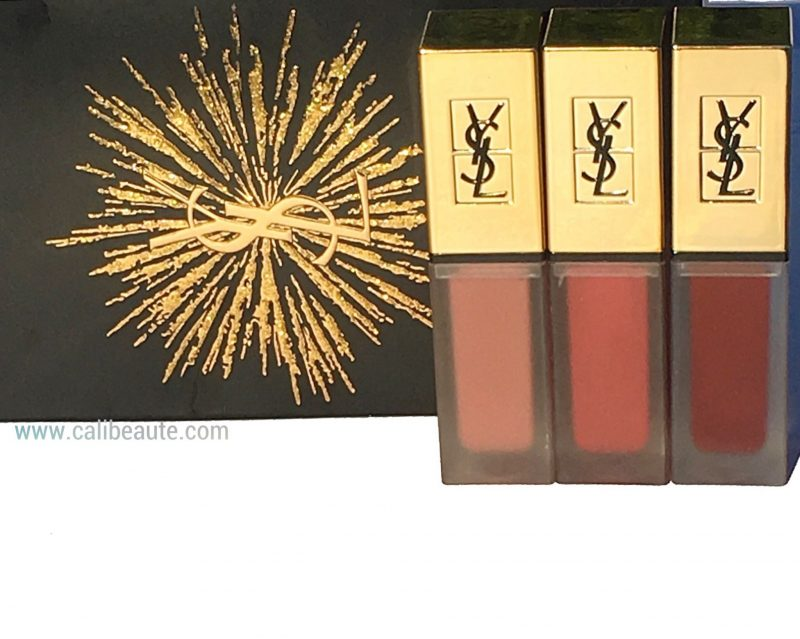 YSL Tatouage Couture Matte Liquid lipstick trio review and swatches nu interdit rosewood gang black red code |www.calibeaute.com