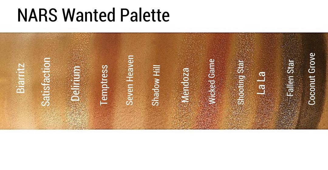 NARS Wanted Palette Swatches