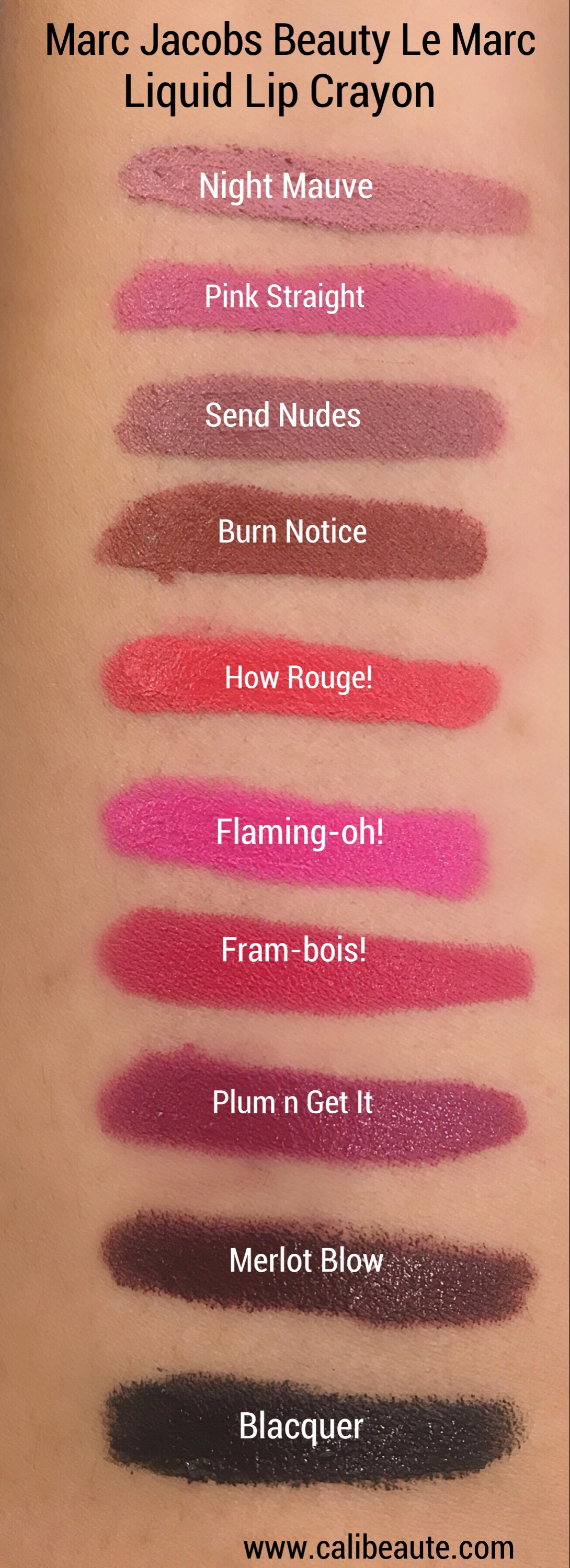 Marc Jacobs Beauty Le Marc Liquid Lipstick Crayon swatches and review www.calibeaute.com