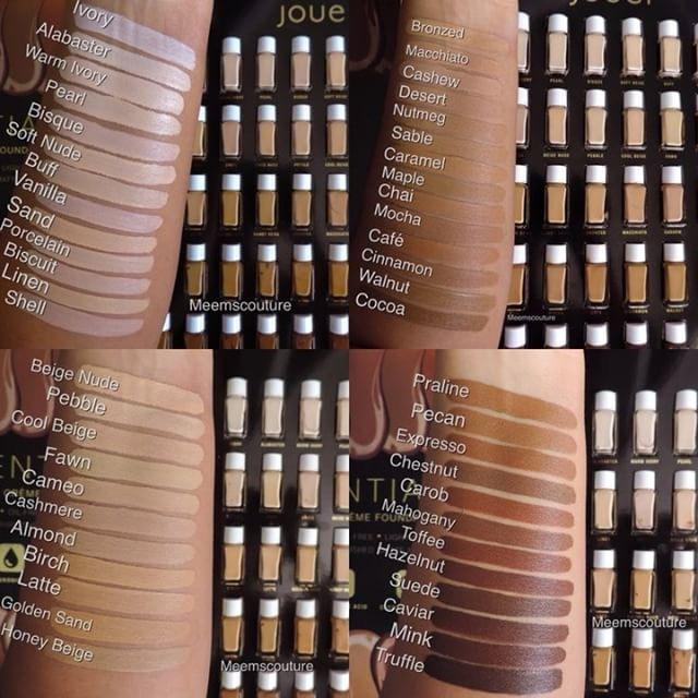 Jouer Foundation swatches of all 50 shades www.calibeaute.com
