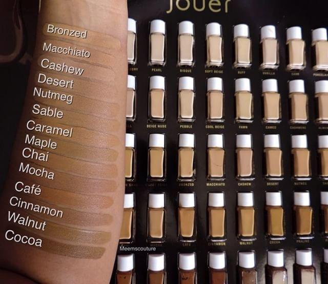 Jouer Essential High Coverage Foundation Review and swatches of all 50 shades www.calibeaute.com