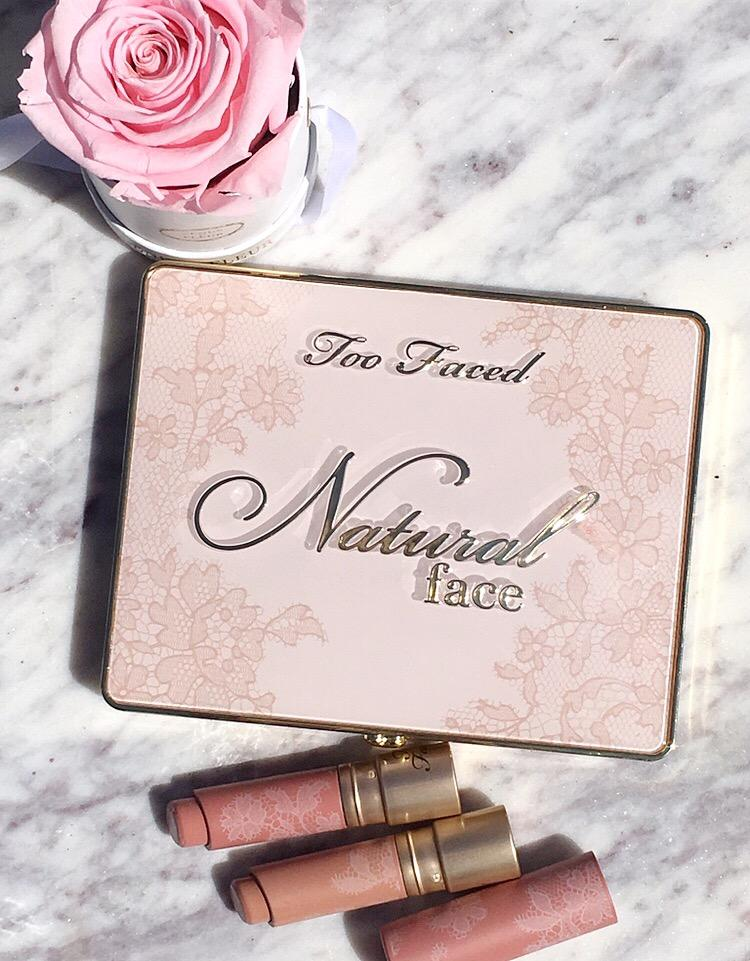 Too Faced Natural Face Palette and Natural Nude Lipstick Review and swatches www.calibeaute.com