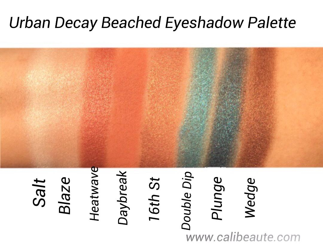 Urban Decay Beached Eyeshadow Palette Swatches and Review www.calibeaute.com