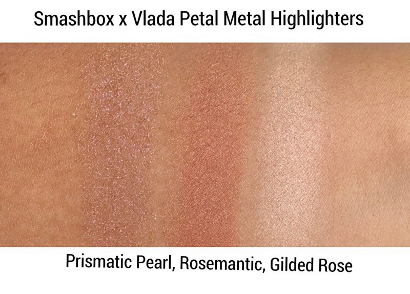 Smashbox Cosmetics Petal Metal Highlighter Swatches