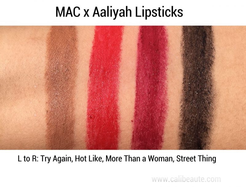 MAC x Aaliyah Collection Swatches www.calibeaute.com