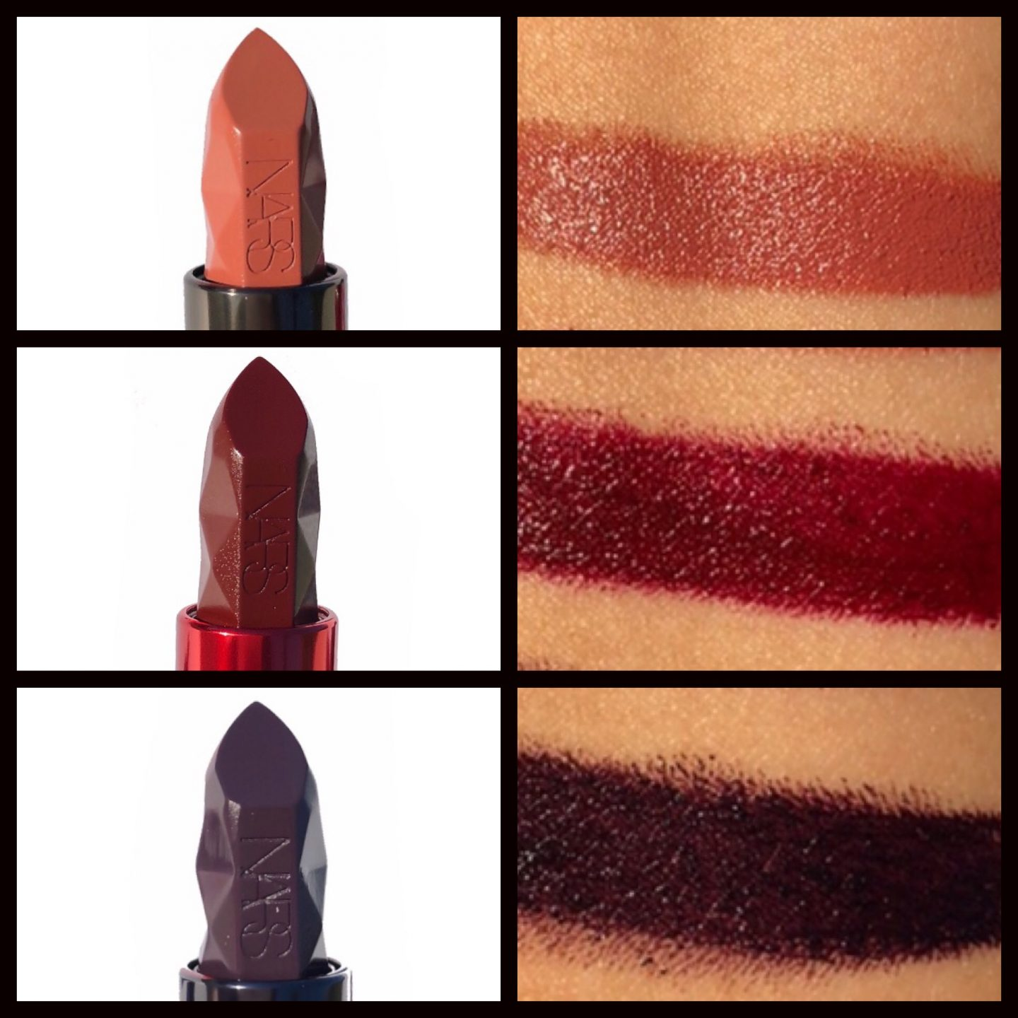 NARS Spiked Audacious Lipstick swatches www.calibeaute.com